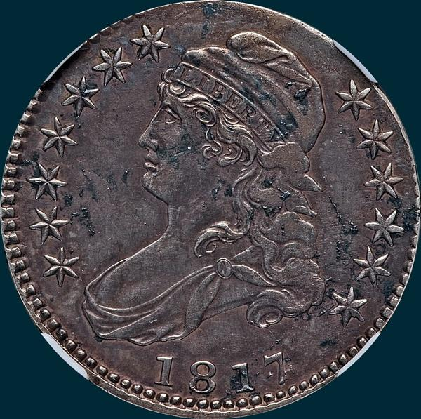 1817, O-102a, 7 over 4, Capped Bust, Half Dollar