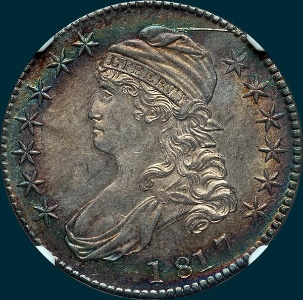1817 O-106, capped bust, half dollar