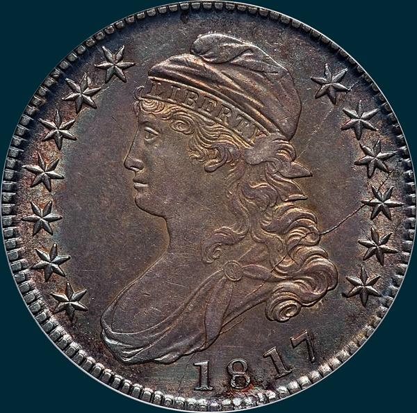 1817 o-108, capped bust half dollar