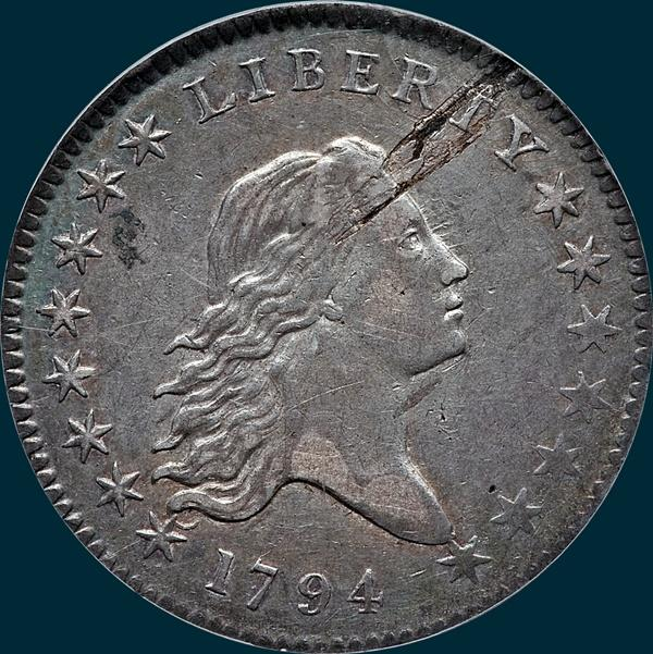 1794, O-104, Flowing Hair, Half Dollar
