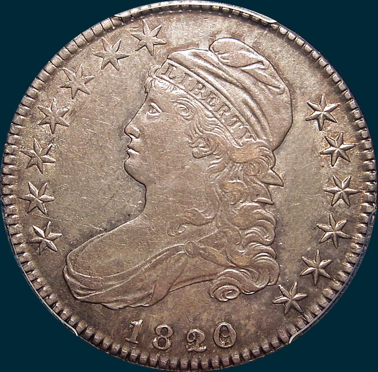 1820/19 O-102, curl based 2, Capped bust half dollar