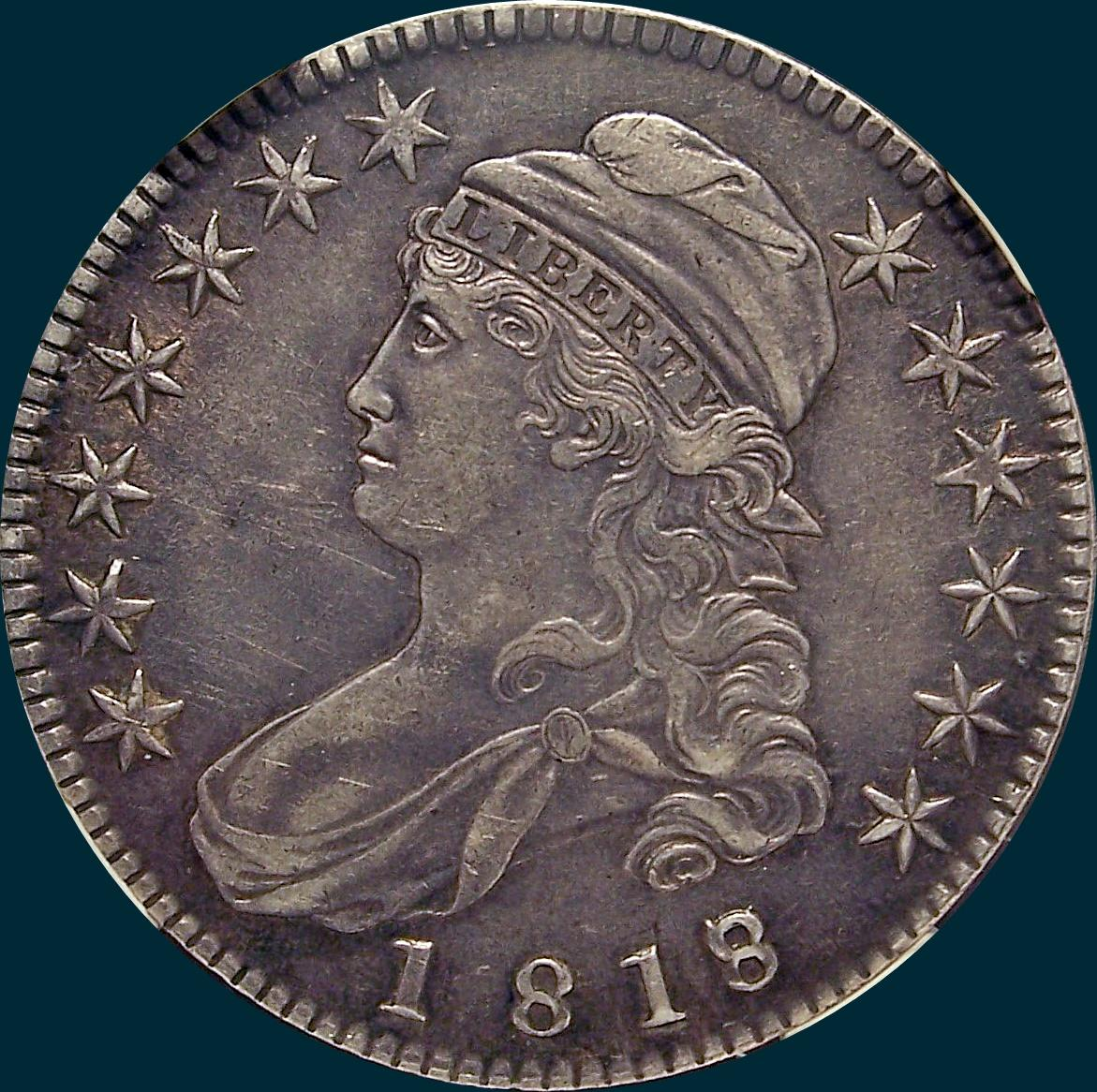 1818, O-102, 8 over 7, Small 8, Capped Bust, Half Dollar