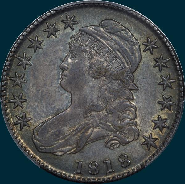 1818, O-108, Capped Bust, Half Dollar