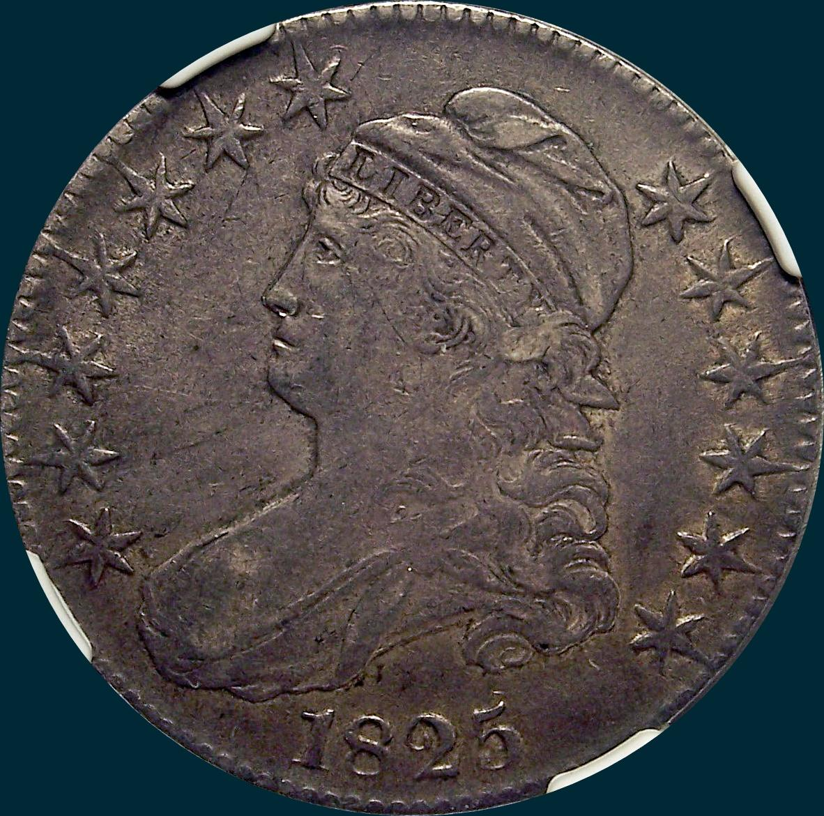 1825, O-103 capped bust half dollar
