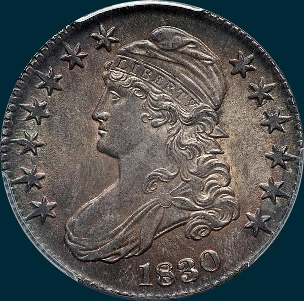 1830 O-104, small 0, capped bust half dollar