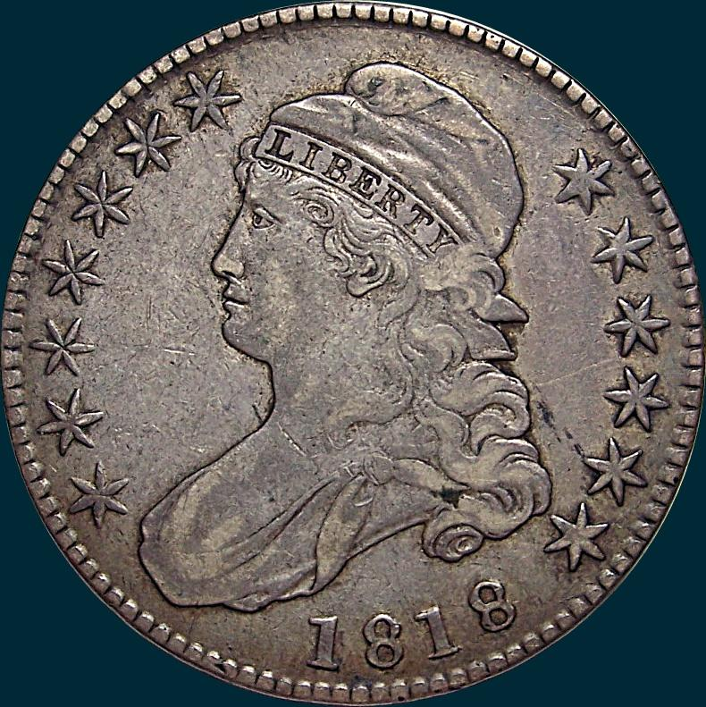 1818, O-111, Capped Bust, Half Dollar
