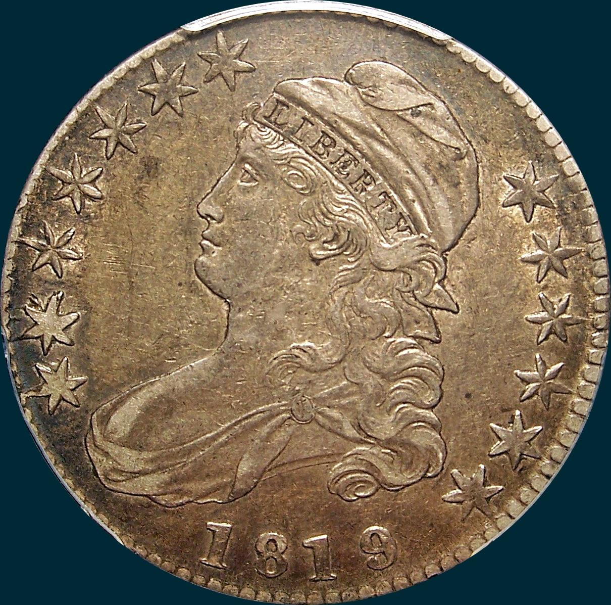 1819/8 O-104, capped bust, half dollar