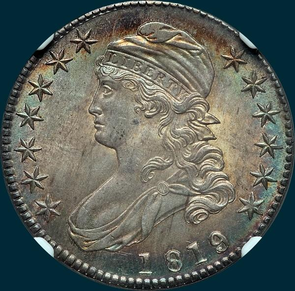 1819, O-106, Large 9 over 8, Capped Bust, Half Dollar