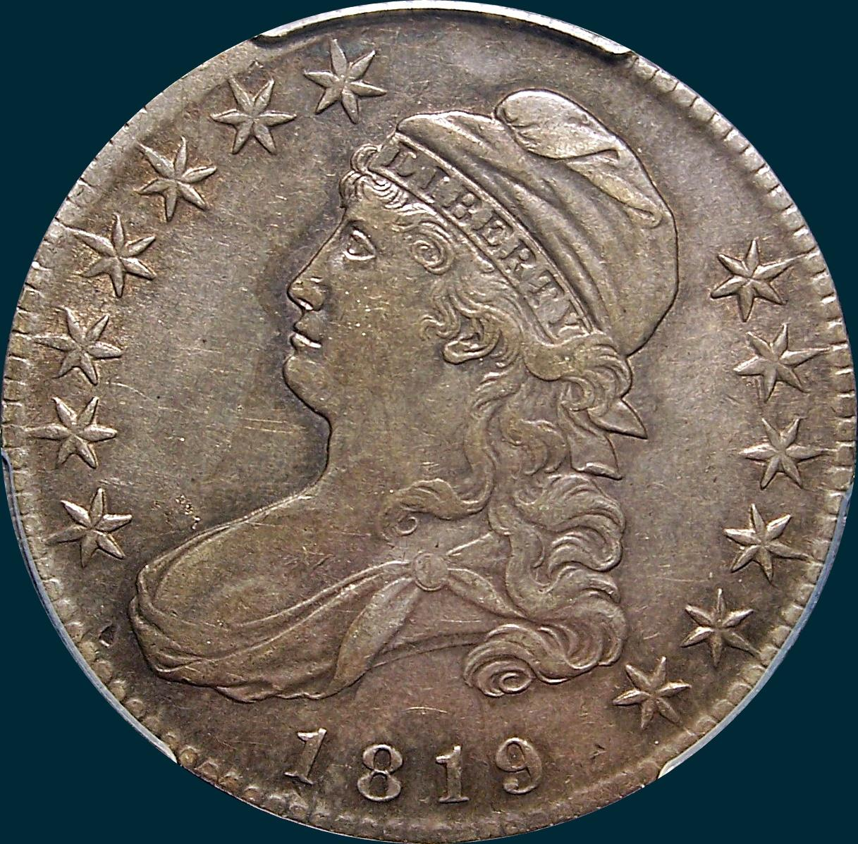 1819 O-113, capped bust half dollar