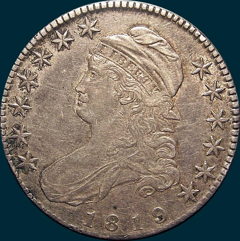 1819 O-115, capped bust, half dollar