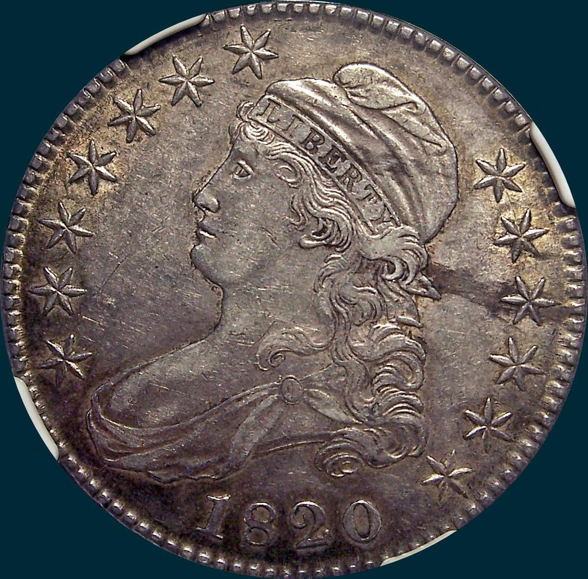 1820 O-108, no knob 2, capped bust half dollar