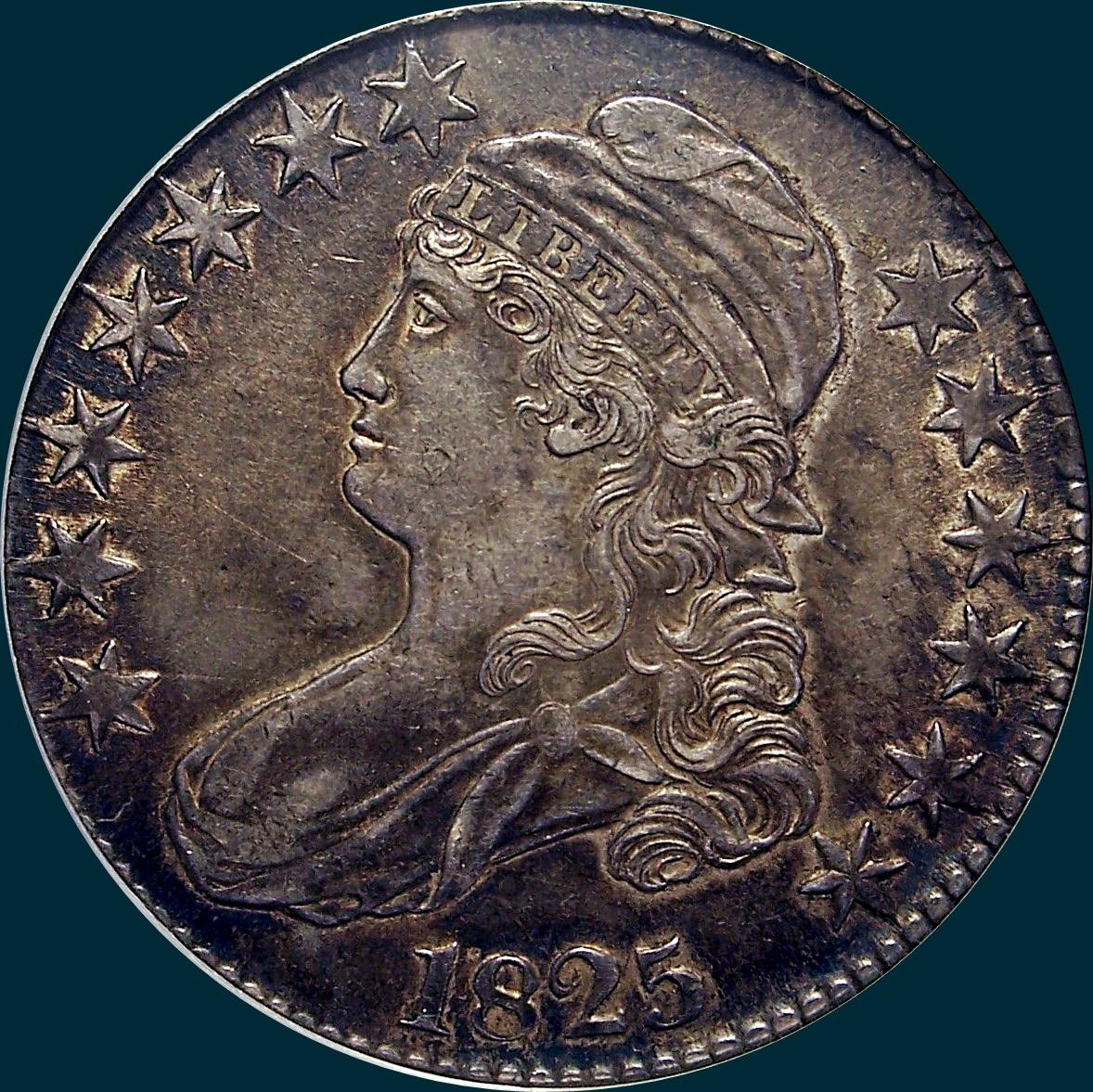 1825, O-108 capped bust half dollar