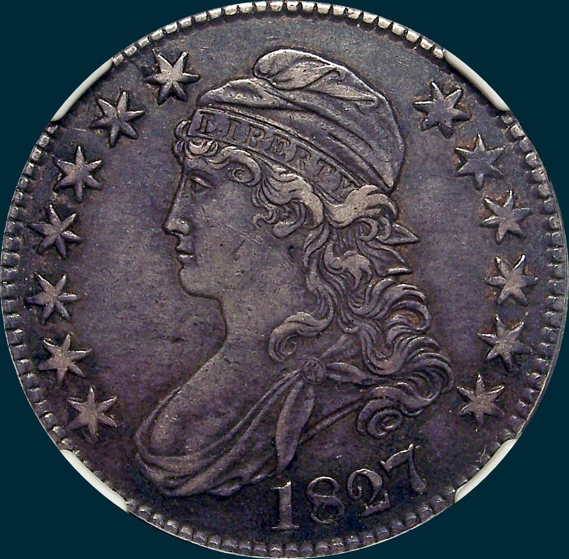 1827, O-131, R2, Square Base 2, Capped Bust, Half Dollar