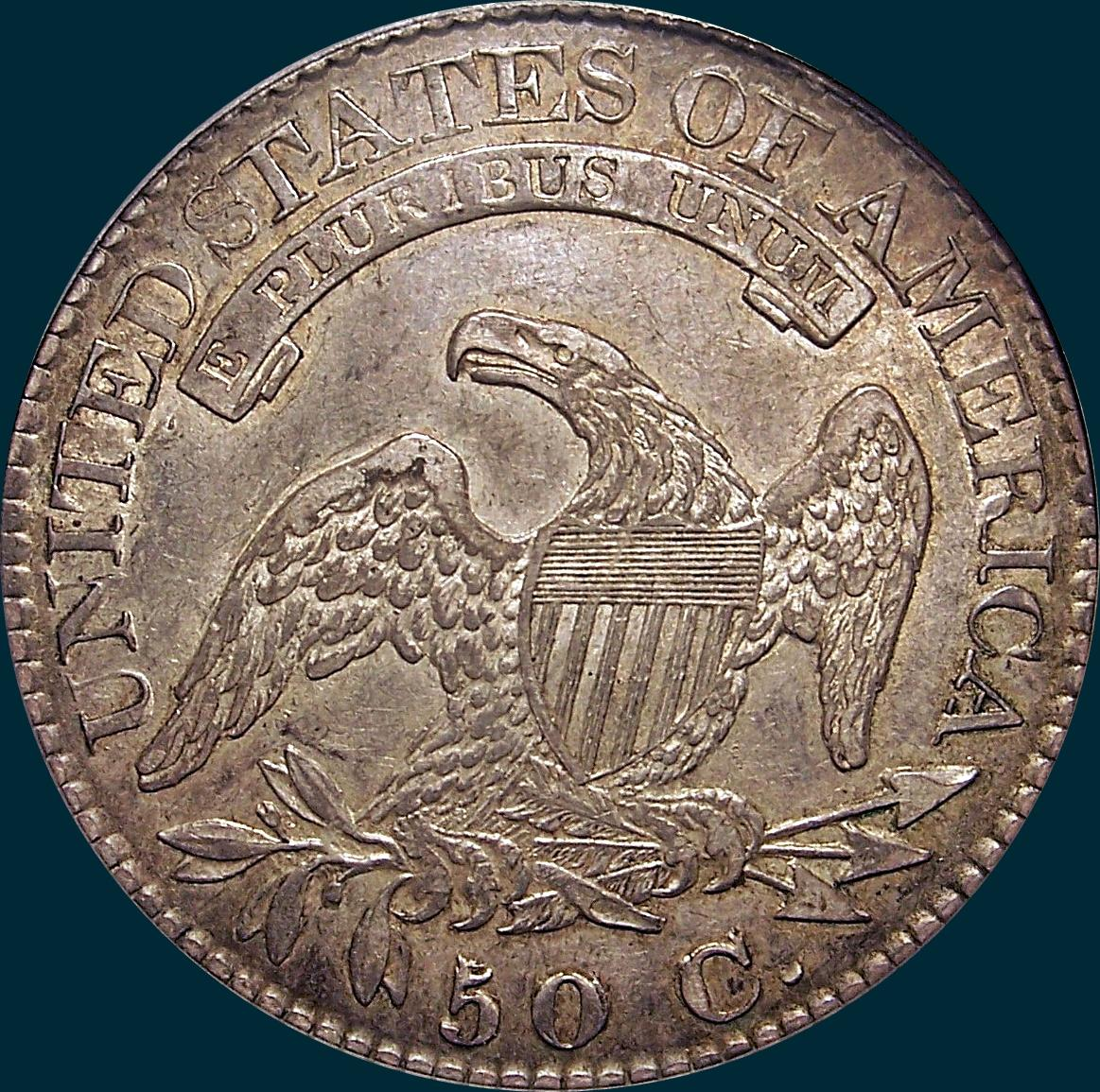 1825, O-111 caped bust half dollar