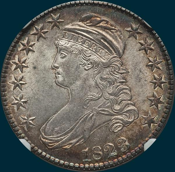 1823, O-111, Capped Bust, Half Dollar