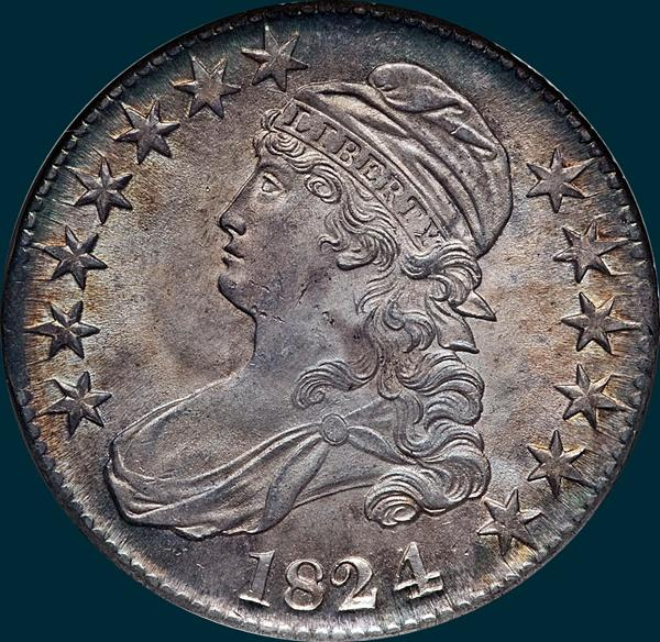 1824, O-110a, 4 recut over 4, Capped Bust, Half Dollar