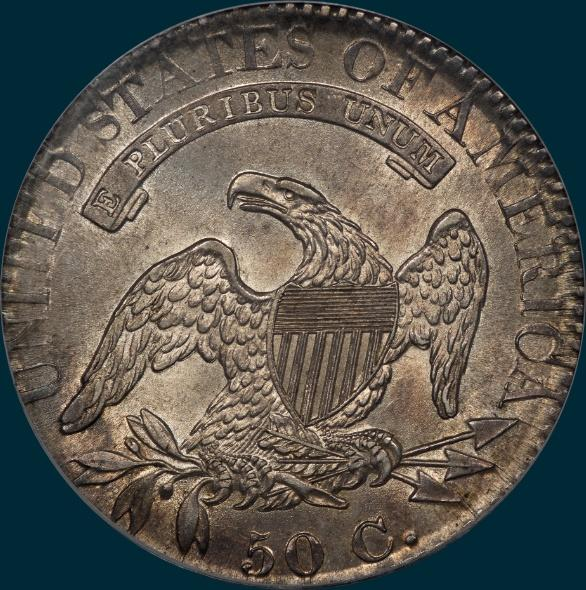 1825, O-115 capped bust half dollar