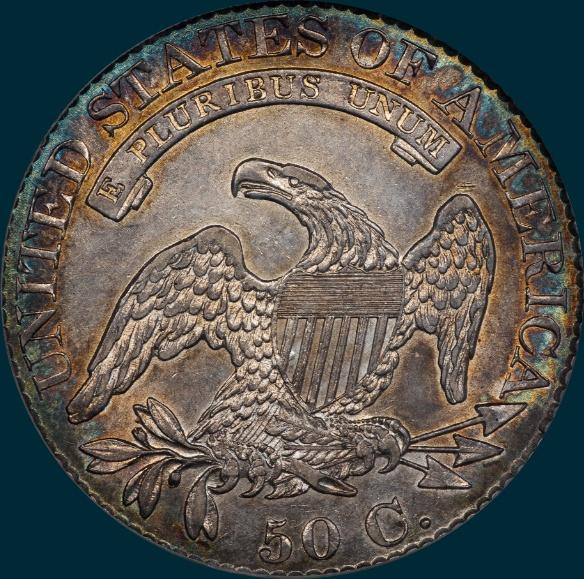 1825, O-117 capped bust half dollar