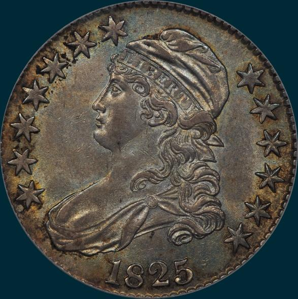 1825, O-110 capped bust half dollar