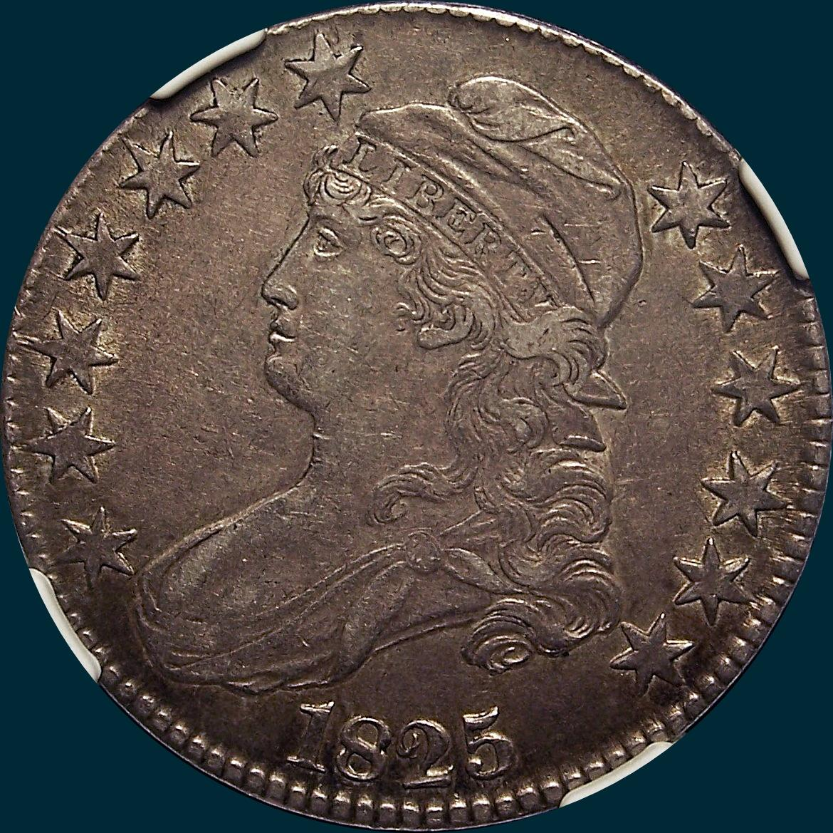 1825, O-112 capped bust half dollar