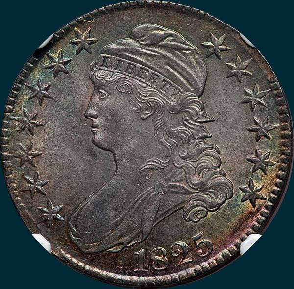 1825, O-102 capped bust half dollar