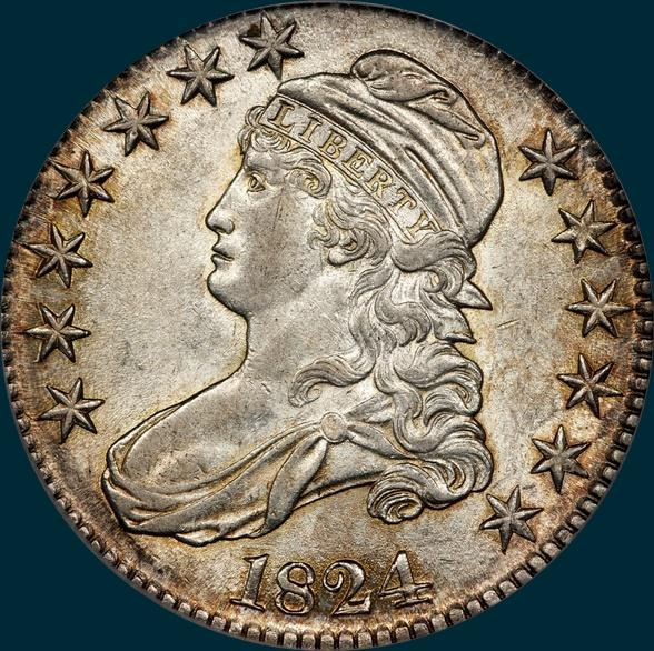 1824 O-104, capped bust half dollar