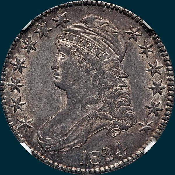 1824, O-106, Capped Bust, Half Dollar