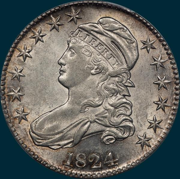 1824 O-112, capped bust half dollar