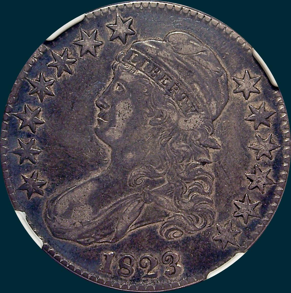 1823, O-112, Capped Bust, Half Dollar