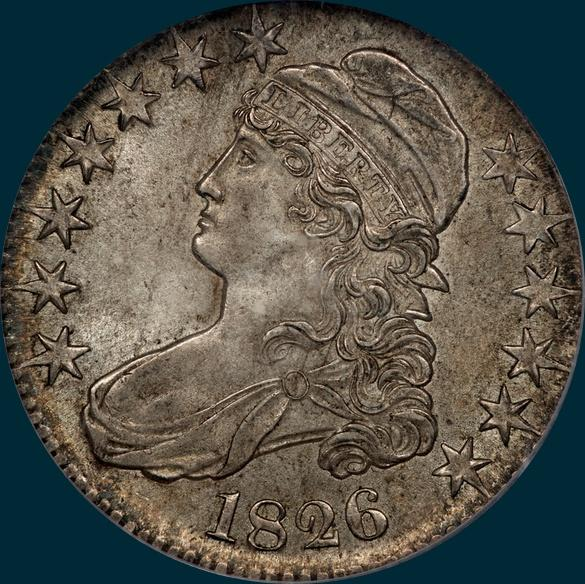 1826 O-104, capped bust half dollar