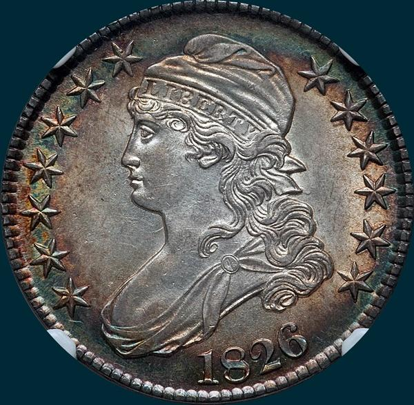 1826, O-112 Intermediate Die State, Capped Bust, Half Dollar