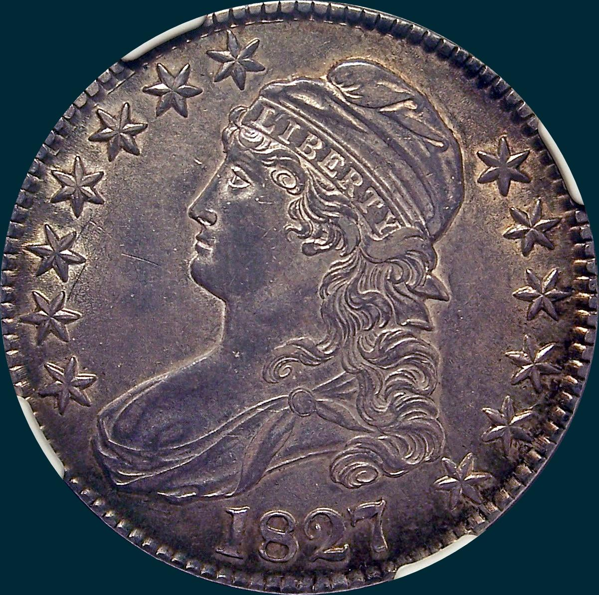 1827, O-146, R2, Curl Base 2, Capped Bust, Half Dollar