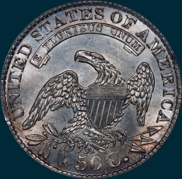 1829/7 O-101, capped bust half dollar