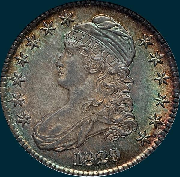 1829, O-115, Capped Bust, Half Dollar