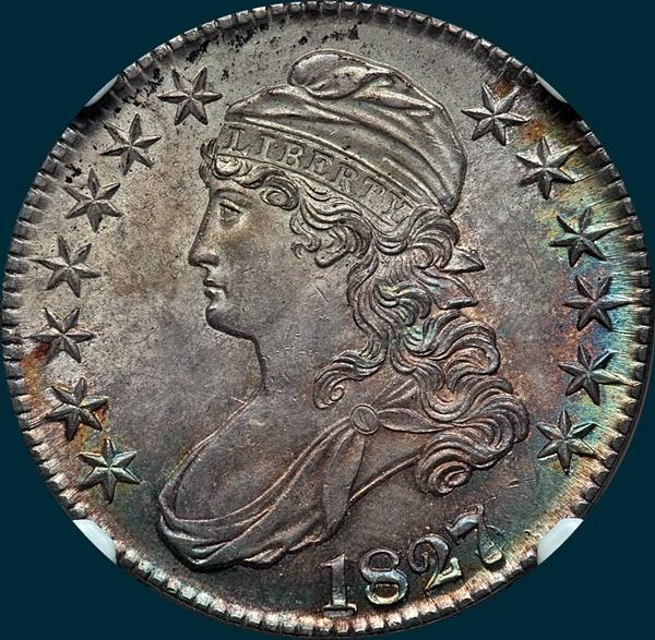 1827/6 O-101, Capped bust half dollar