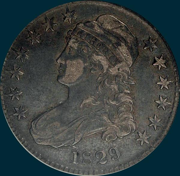 1829 O-104, capped bust half dollar