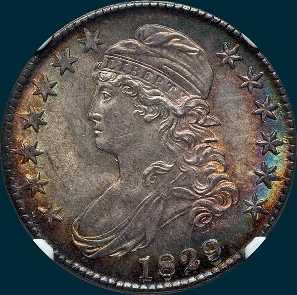 1829 O-111, capped bust half dollar