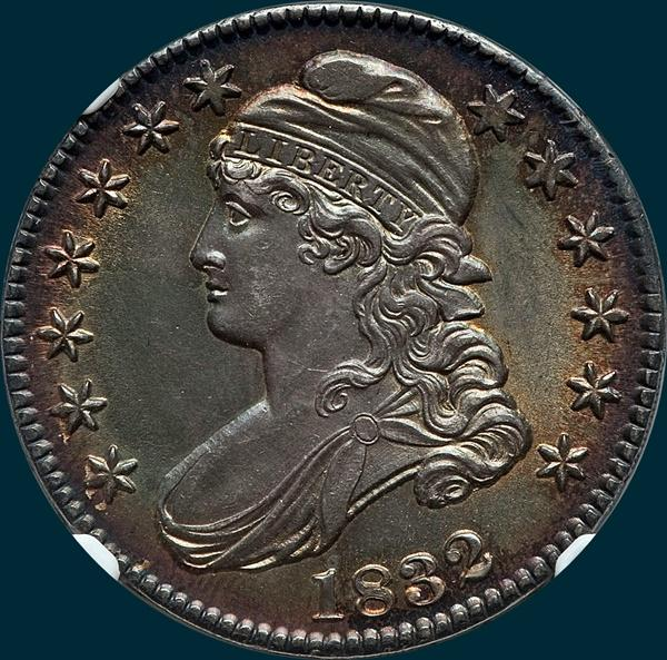1832 O-102 capped bust half dollar