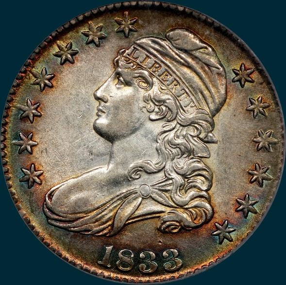 1833 O-102, capped bust half dollar