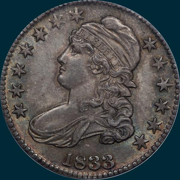 1833 O-110, capped bust half dollar