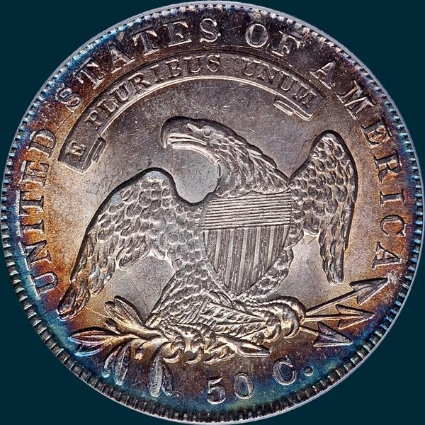 1836 O-104, capped bust half dollar