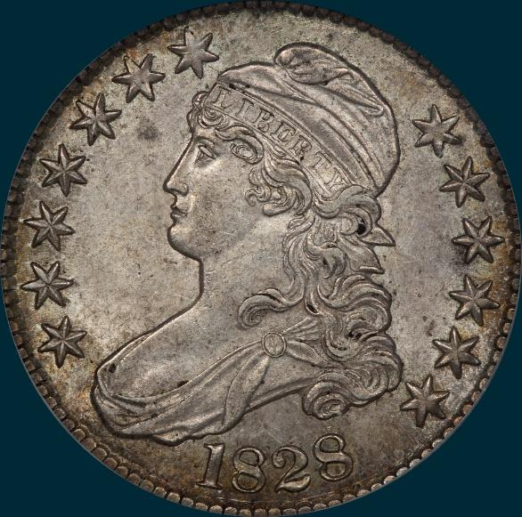1828, O-106, capped bust, half dollar