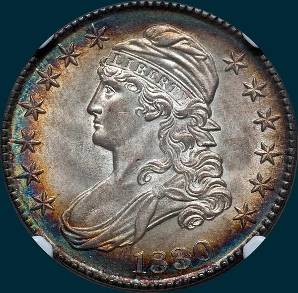 1830 O-101, small 0, capped bust half dollar