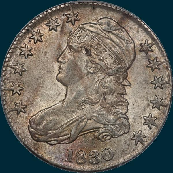1830 O-105, small 0, capped bust half dollar