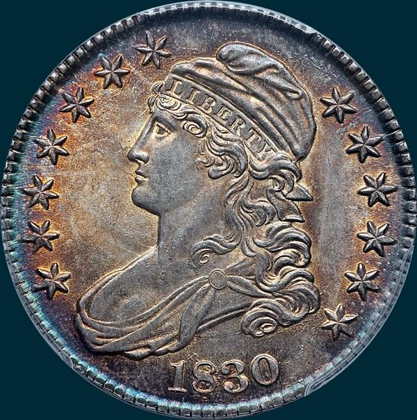 1830 O-110, small 0, capped bust half dollar