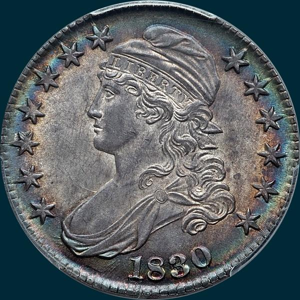 1830 O-115, small 0, capped bust half dollar
