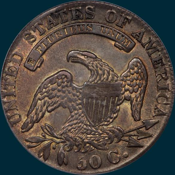 1833 O-112, capped bust half dollar