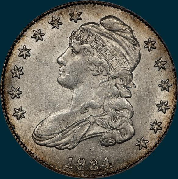 1834, O-118, 1834/1834, Small Date, Small Letters, Capped Bust, Half Dollar