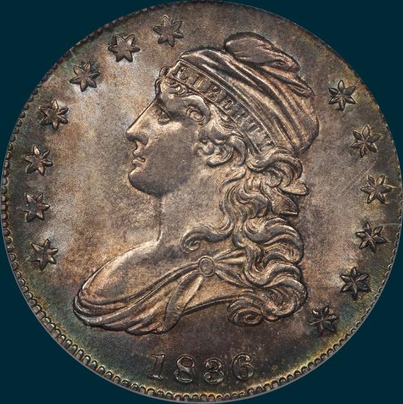 1836 o-110, capped bust half dollar