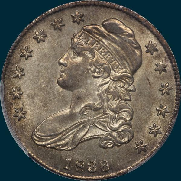 1836 o-119, capped bust half dollar